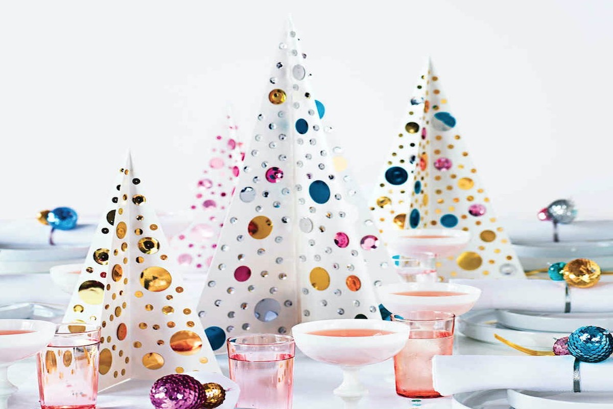 Christmas Table Centerpiece - Sequins and paper Christmas trees